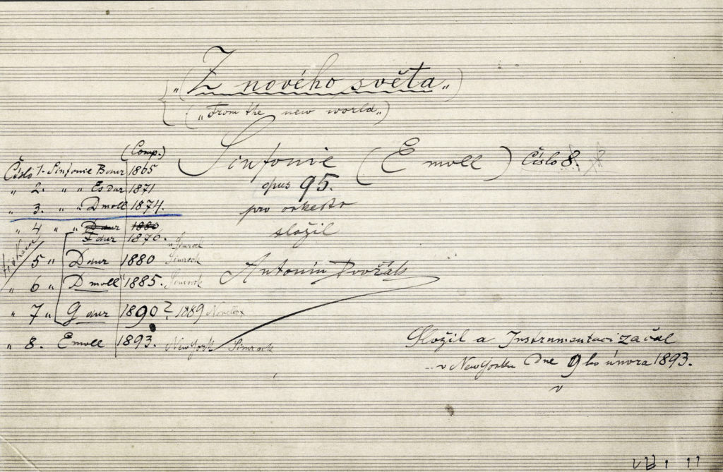 Antonín Dvořák, Autograf der Sinfonie Nr. 9