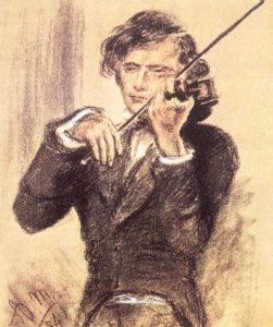 Joseph Joachim. Zeichnung von Adolph von Menzel, 1853