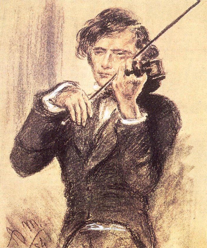 Joseph Joachim. Zeichnung von Adooph von Menzel, 1853
