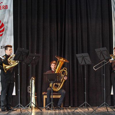 Jugend musiziert. Wertungsspiel eines Bläser-Ensembles