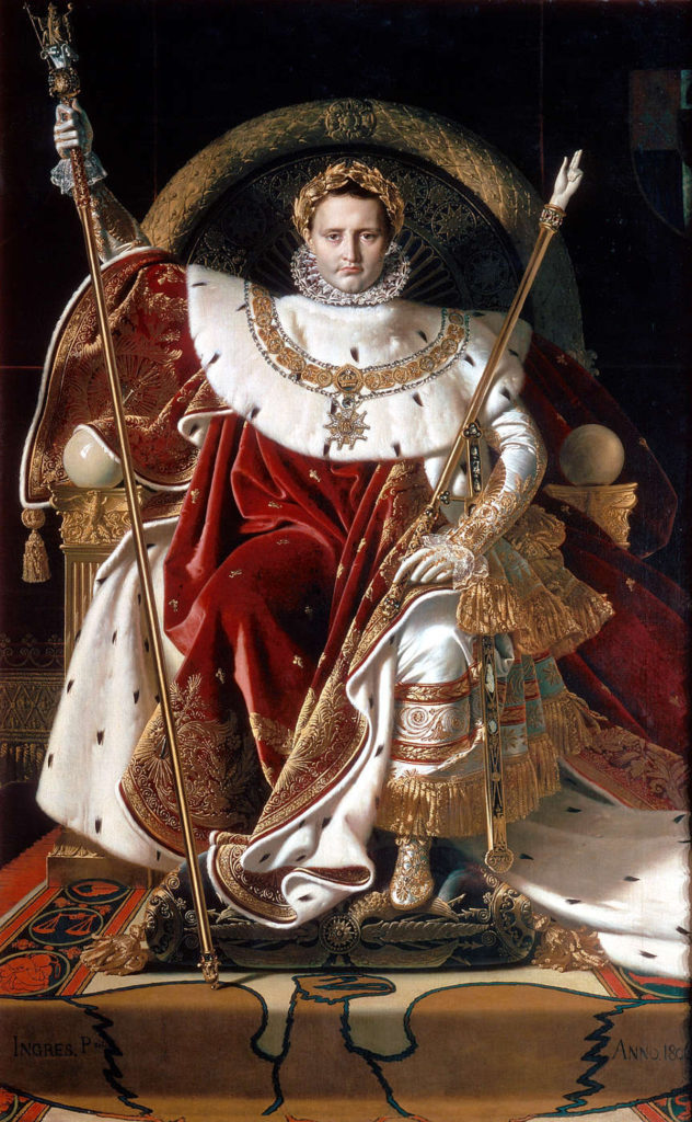 Napoleon auf dem Kaiserthron. Gemälde von Jean-Auguste Dominique, 1806