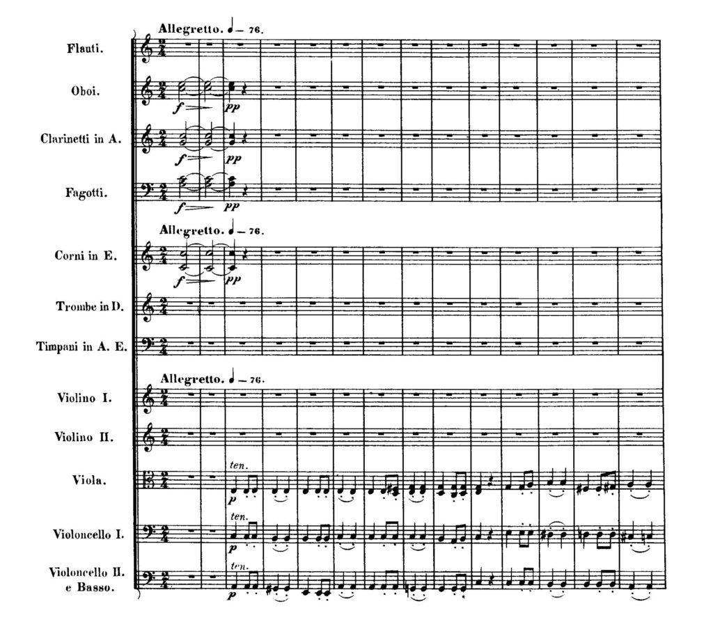 Beethoven: Sinfonie Nr. 7, Beginn des 2. Satzes