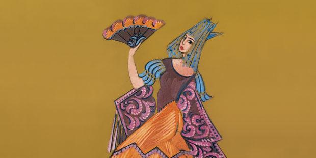 """Kostümentwurf zu """"Carmen"""" von Fyodor Fedorovsky, ca. 1970"""