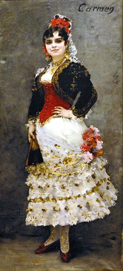 """Célestine Galli-Marié als """"Carmen"""". Gemälde von Prosper Mérimée"""