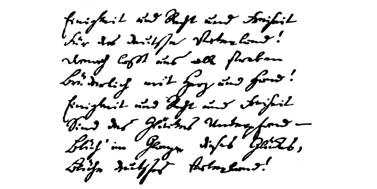 """""""Das Lied der Deutschen"""" von Hoffmann von Fallersleben, 3. Strophe des Manuskripts"""