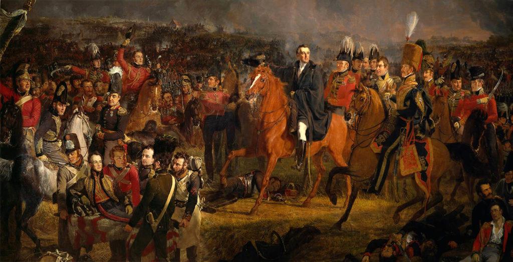 Die Schlacht von Waterloo; in der Mitte: Arthur Wellesley, 1. Duke of Wellington. Gemälde von Jan Willem Pienemann