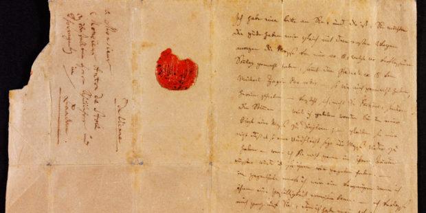 Brief Mozarts an Anton Stoll, 1791. Vorderseite