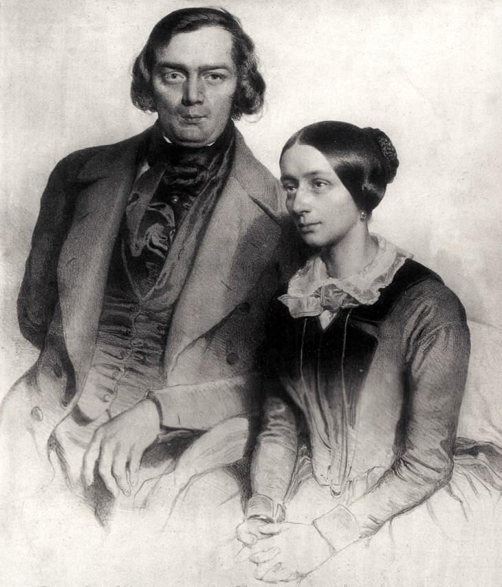 Robert und Clara Schumann. Lithografie von Eduard Kaiser, 1847