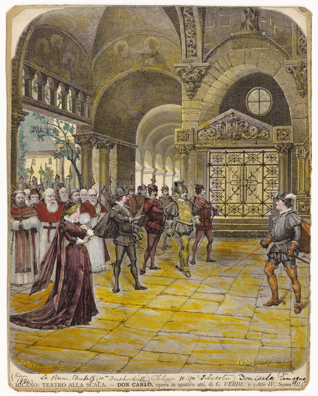 """Bühnenbild zu Don Carlos. Zeichnung von Giuseppe Barberis zur Uraufführung der italienischen Fassung 1884 an der Mailänder """"Scala"""""""