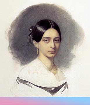 Clara Wieck (spätere Schumann), kurz vor iherer Heirat mit Robert Schumann. Zeichnung von Johann Heinrich Schramm, 1840