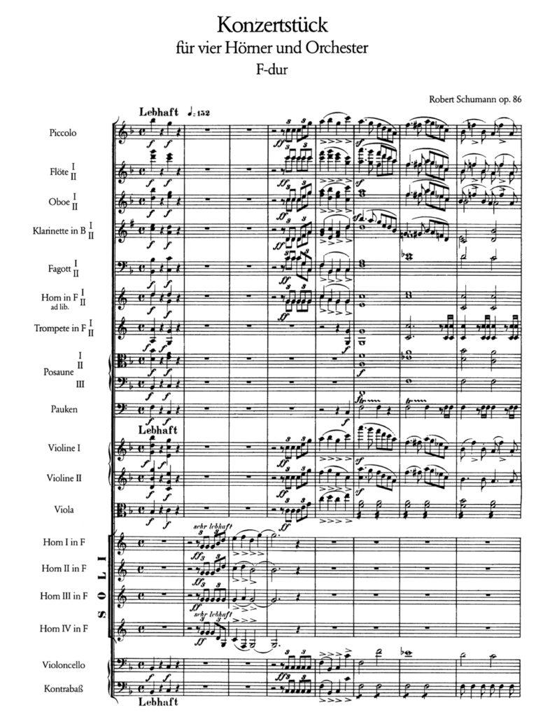 Beginn des Konzertstücks für vier Hörner op. 86