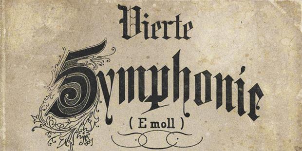 Johannes Brahms, Sinfonie Nr. 4. Deckblatt der Erstausgabe 1868 im Simrock-Verlag
