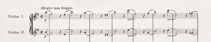 Johannes Brahms, Sinfonie Nr 4. Das erstes Thema mit fallenden Terzen und steigenden Sexten zu Beginn des 1. Satzes in den 1. und 2. Geigen