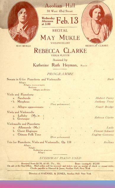 Konzertprogramm mit Rebecca Clarke als Bratischtin und der Aufführung eines ihrer Werke, 1918 © gemeinfrei