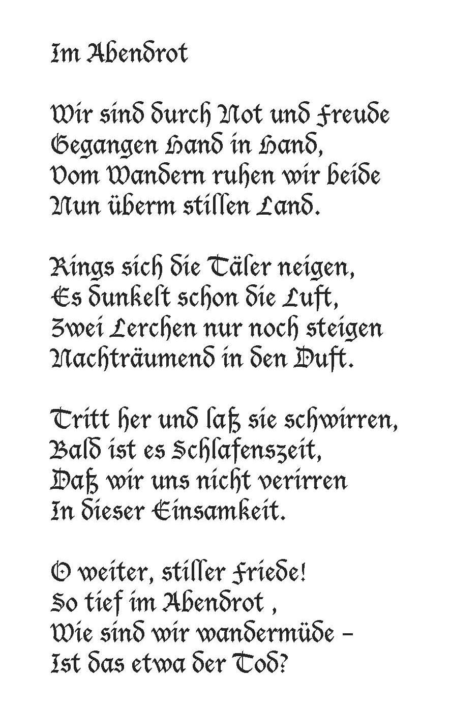 """Joseph von Eichendorff: Im Abendrot. Richard Strauss' vertonte das Gedicht in seinen """"Vier letzten Liedern"""""""