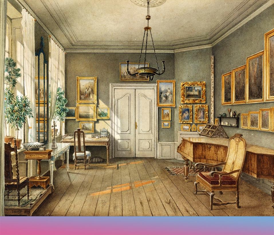 Fanny Hensels Musikzimmer. Zeichnung von Mulius Helfft, 1849