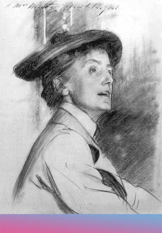Ethel Smyth. Kreidezeichnung von John singer Sargent, 1901