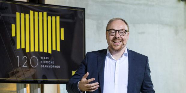 DG120. Clemens Trautmann, Präsident der Deutschen Grammophon, bei den Feierlichkeiten zum Jubiläum
