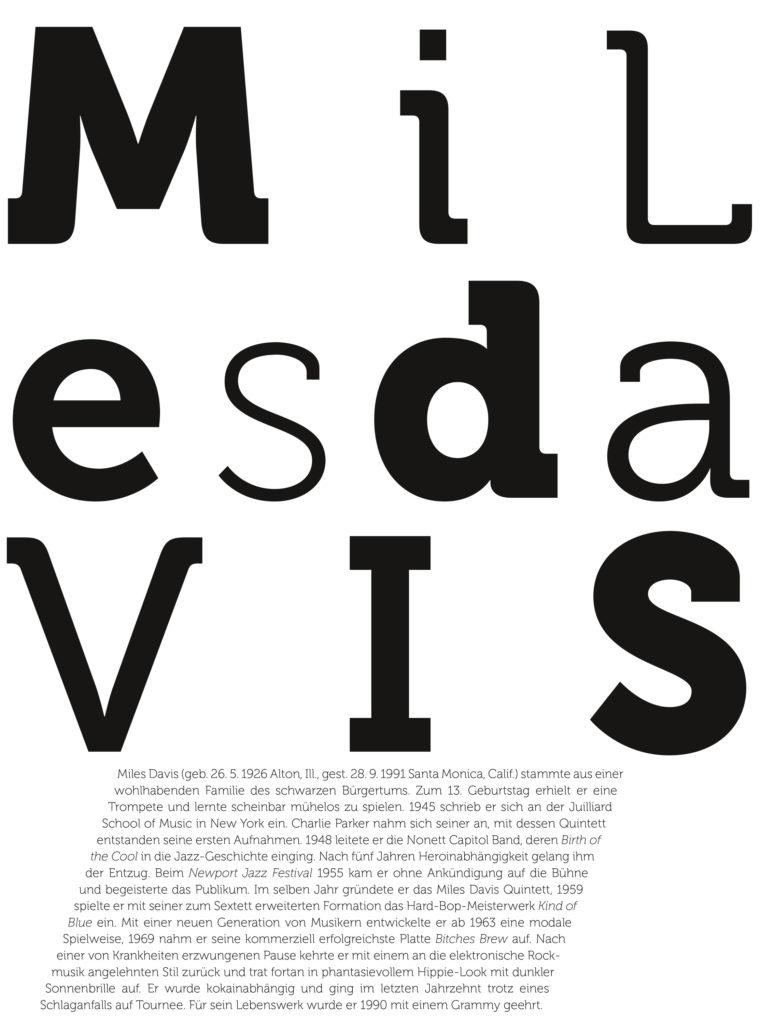 Der Jazz-Kalender. Miles Davis, Text