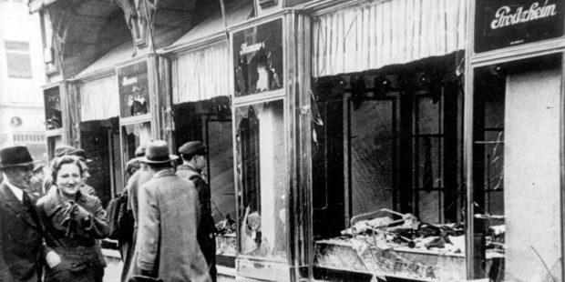 Zerstörte jüdische Geschäfte in Magdeburg, November 1938