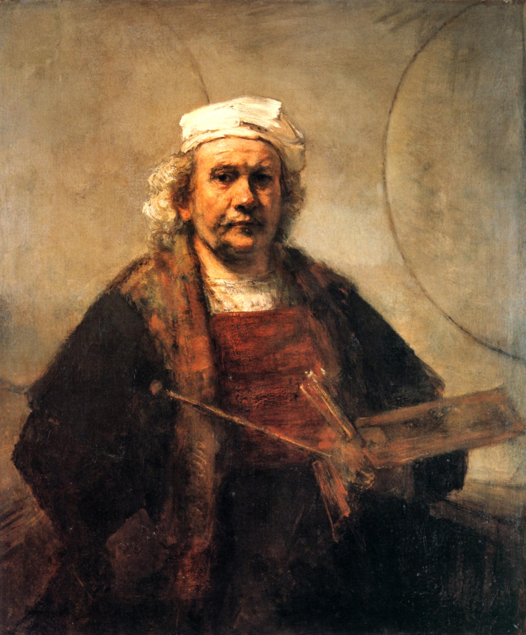 Rembrandt van Rijn: Selbstportrait mit zwei Kreisen, 1665-1669