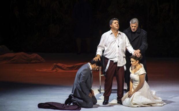 Simon Boccanegra 2019: Charles Castronovo (Gabriele Adorno), Luca Salsi (Simon Boccanegra), René Pape (Jacopo Fiesco), Marina Rebeka (Amelia Grimaldi)