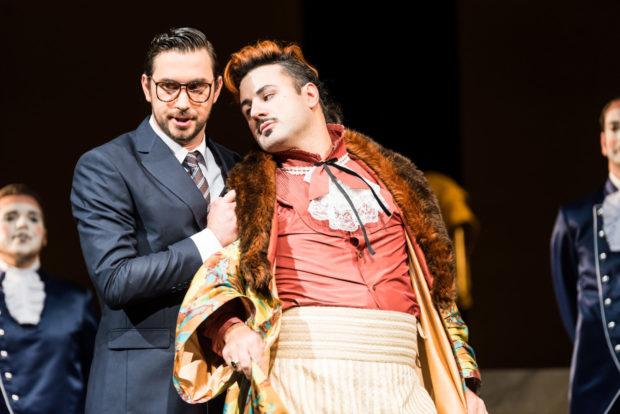 v.l.: Andrii Chakov, Angelos Samartzis Chor- und Extrachor der Oper Halle