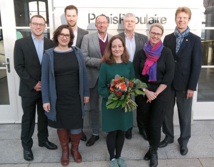 Die diesjährige Jury (v.l.): Felix Husmann, Susanne Bánhidai, Gregor Burgenmeister, Holger Wemhoff, Christiane Karg, Prof. Christian Höppner, Christiane Winter-Thumann, Gerald Mertens