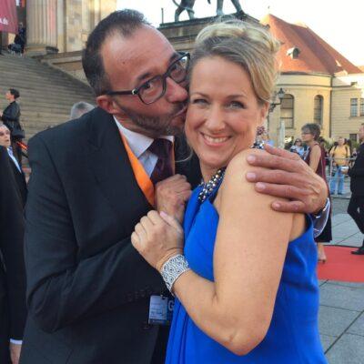 Moderator Holger Wemhoff mit Sopranistin Diana Damrau beim OPUS Klassik 2018