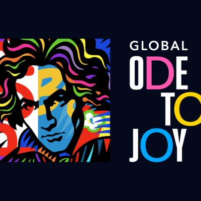 """Das Logo zur Online-Kampagne """"Global Ode to Joy"""", entworfen vom Künstler Burton Morris"""