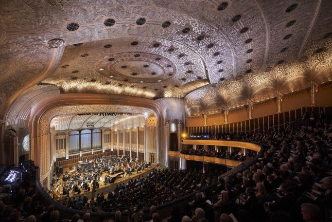 Blick auf die Bühne der Severance Hall in Cleveland (Ohio)
