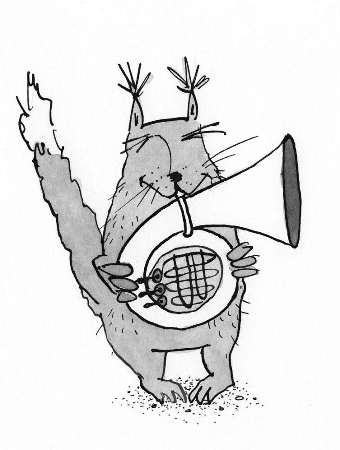 Hörnchen mit Horn