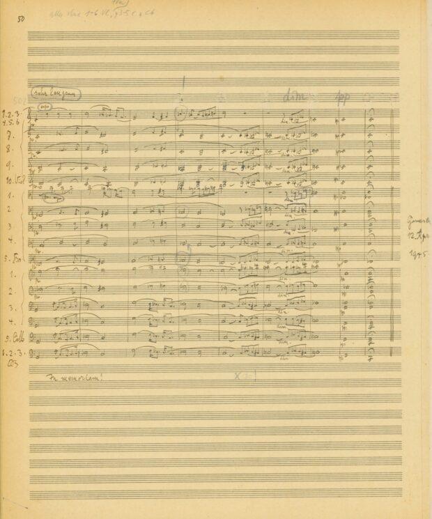 """Richard Strauss, """"Metamorphosen"""". Studie für 23 Solostreicher (1944-45). Zweite Partiturreinschrift mit Dirigiereintragungen von Paul Sacher, S. 50"""