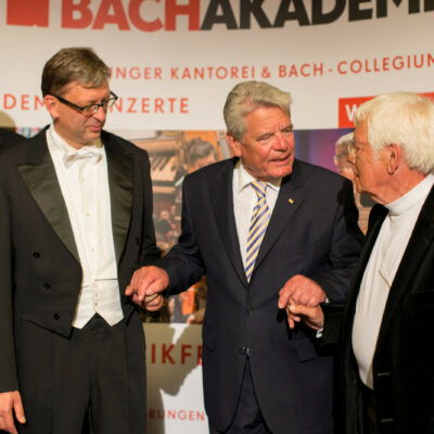 Stabwechsel bei der Internationalen Bachakademie: Hans-Christoph Rademann, Joachim Gauck und Helmuth Rilling